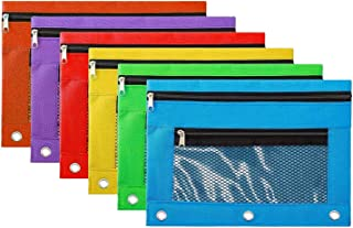 Pencil Case Pencil Pouch Zipper with 3 Ring and Double Pocket and Mesh Window(Colorful,6 Pack)