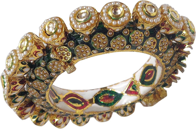 Babosa Sakhi Kundan Katli Bangle Pearl Green Enamel Indian Traditional Bracelet