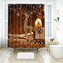 AMDXD 100% Polyester Shower Curtain 72x78Inch (180x200CM), Christmas Elk Christmas Ball Shower Curtain 3D, Bathroom Decor ...