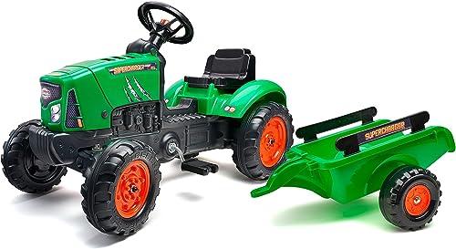 Falk Tracteur à pédales Supercharger Rouge avec Capot ouvrant et remorque, 2031AB, Vert