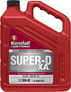 Kendall 1077886 Diesel Engine Oil (Super-D XA Premium Synthetic Blend API CK-4 with Liquid Titanium 15W40-1 Gallon), 128. Fluid_Ounces