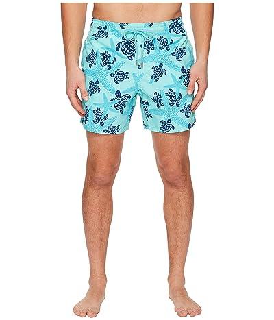 Vilebrequin Moorea Stars and Turtles Swim Trunk (Lagoon) Men