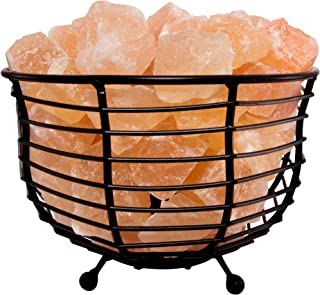 Fab Glass and Mirror SL-BLB93 Metal Basket Pure Himalayan Crystal Rock Pink Salt Lamp 8 x 8