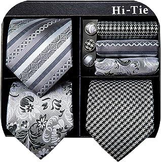 کراوات مردانه Hi-Tie 3 عدد در گردنبند جعبه هدیه با مجموعه کراوات گردن ابریشمی جیبی و دستبند