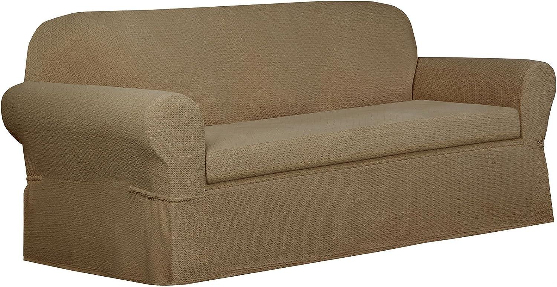 MAYTEX Torie Stretch 2Piece Sofa Furniture Cover Slipcover, Tan