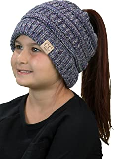 Funky Junque BeanieTail Children's Ponytail Messy Bun Beanie Solid Ribbed Hat