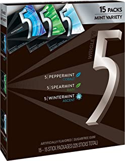 5 Gum Sugarfree Chewing Gum Three Flavor Variety Pack, 15-Count Box