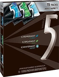 5 Gum Sugarfree Chewing Gum Three Flavor Variety Pack, 15-Count Box
