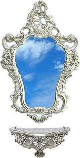 Miroir complet avec étagère argentée vieillie de style baroque Louis XVI Faux Vintage
