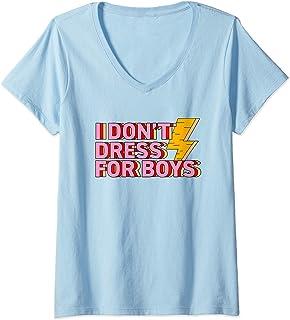 Womens I Don't Dress For Boys Cute Feminist Gift Women History V-Neck T-Shirt