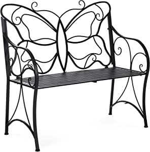 Best Choice Products 40in 2-Person Metal Butterfly Design Patio Garden Bench Furniture w/Armrests - Black