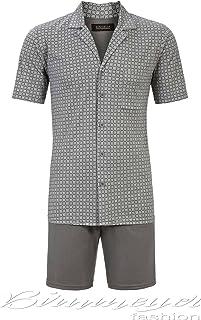 【ヨーロッパ老舗ブランド】お肌にやさしい真夏のエレガントなメンズルームウエア上下 グレー 半袖半パンツ 夏パジャマとしても可 100%高級コットン エコテックス認証付(Mサイズ)