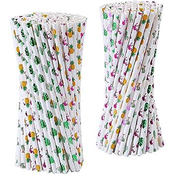 Flamingo Paper Party Drinking Straws Biodegradable Eco-Friendly 50x