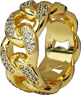 Premium 18K Real Gold Electroplated 11MM Simulated Diamond Solid Miami Cuban Link Chain Design Eternity Ring Made from Jewelers Alloy. Available in Sizes 7, 8, 9, 10, 11, 12, 13, 14