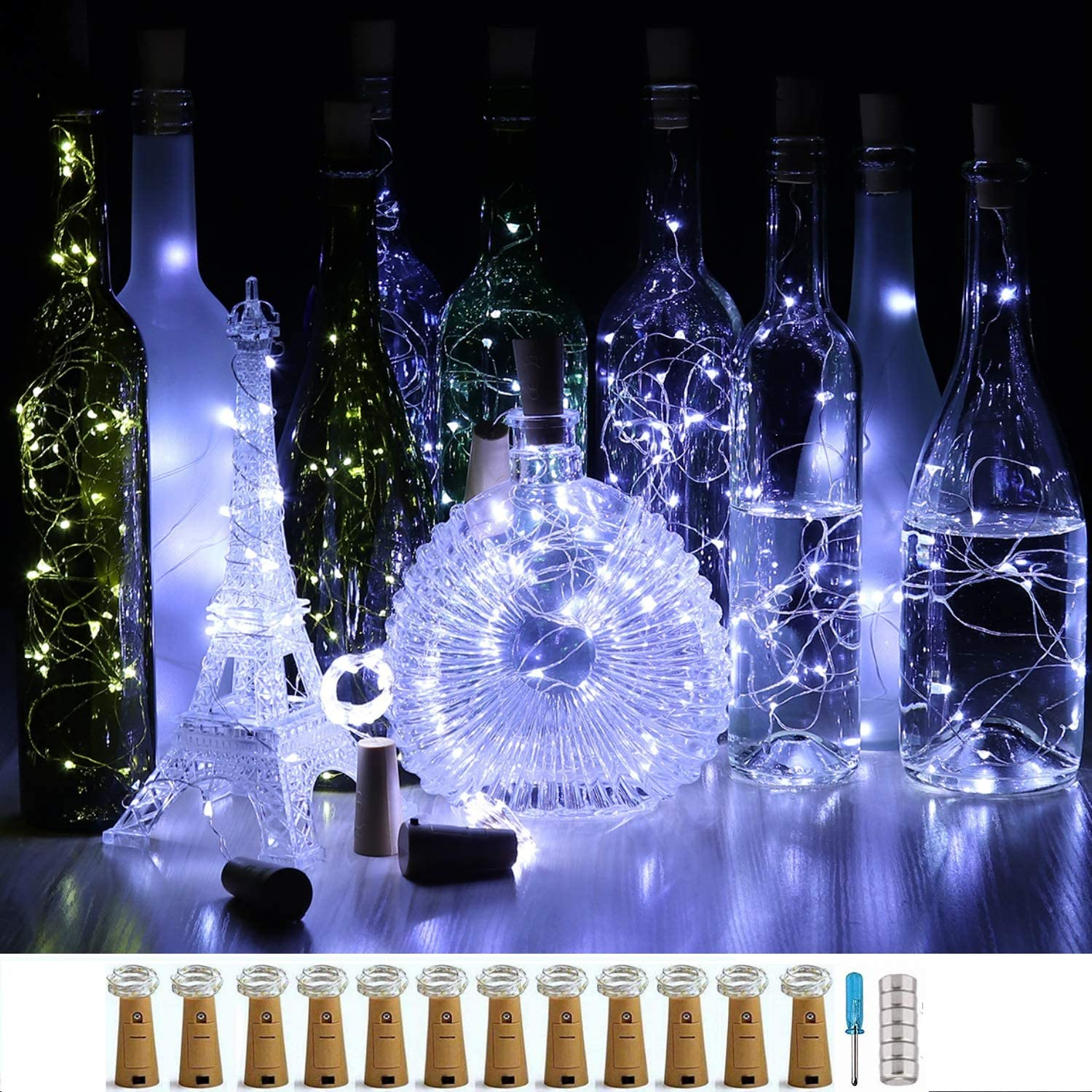 CUUCOR Cork Wine Bottle Lights 12 Max 52% OFF LED Operated F Battery 4 years warranty Pack 20