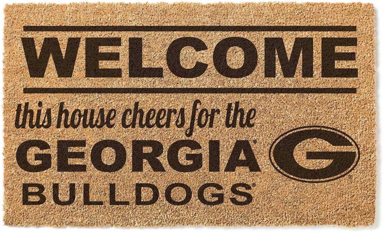 KH Sports Fan Georgia Bulldogs Fashion Coir Team Multi Doormat Welcome store