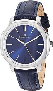 Christian Van Sant Women's Octave Slim Stainless Steel Japanese Quartz Leather Calfskin Strap, Blue, 15 Casual Watch (Mode...