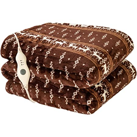 """Electric Heated Blanket Throw with 3 Heating Levels & 4 Hours Auto Off,Super Cozy Soft Heated Throw with Fast Heating and Machine Washable,Home Office Use 50"""" x 60"""" Moose Pattern"""