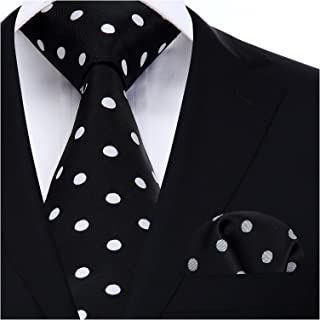 Mens Tie Polka Dot Necktie and Pocket Square Set for Wedding Party