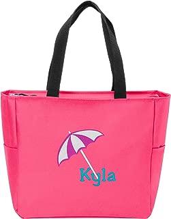 Essential Zip Tote | Personalized Beach Umbrella Monogram Shoulder Bag (Neon Pink)
