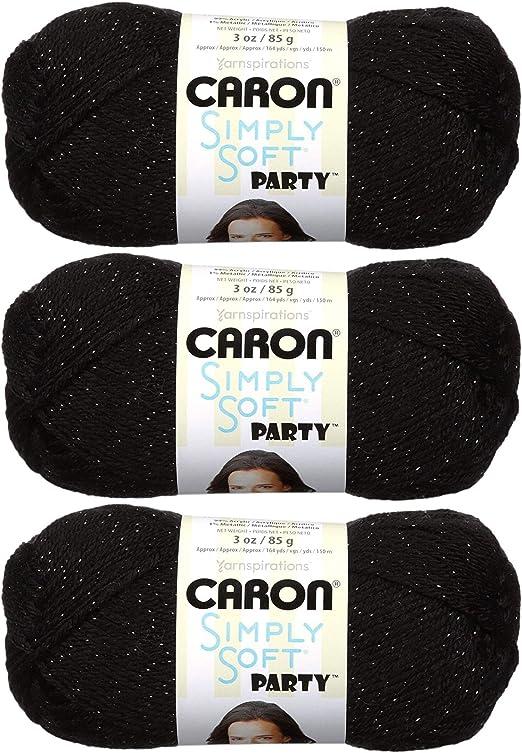 Caron Simply Soft Party Yarn 3 Ounce Single Ball Black Sparkle