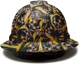 Full Brim Pyramex Hard Hat, Burning Skull Design Safety Helmet 6pt, By Acerpal