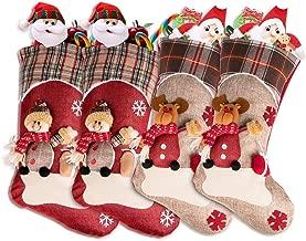 Christmas Stockings 4 pack, Xmas Decor Stockings Fireplace Hanging Stockings for Christmas Decoration, Character 3D Plush Linen, Set of Reindeer Snowman