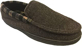2df0fde0b1d0a Dearfoams Men s Plaid Lining and Memory Foam Felted Moccasin Slippers