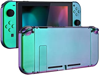 eXtremeRate Glossy Back Plate for Nintendo Switch Console, NS Joycon Handheld Controller Housing with Full Set Buttons, DI...