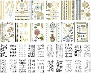 32 Sheets Temporary Tattoos Stickers, 12 Sheets Metallic Temporary Tattoos, 100+ Gold Jewelry Tattoo Boho Waterproof Flash Fake Tattoo Sticker Designs for Women Girls with 20 Sheets Tiny Black Tempora