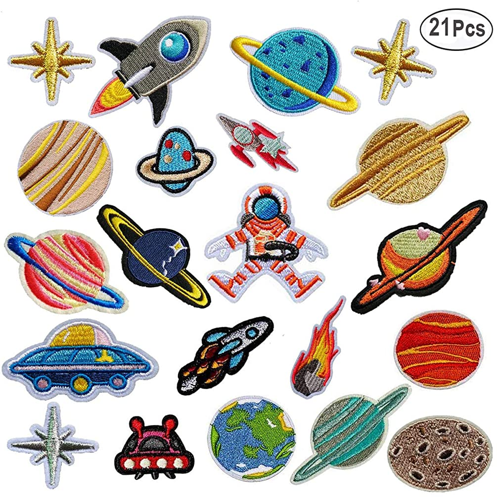 21pcs Solar System Iron On Patches, Akwox Embroidery Appliques Patches Sew Decoration Heat Transfer Stickers for DIY Women Men Kids T-Shirt,Jeans,Bags,Repair The Hole Stick