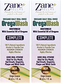 Zane Hellas Oregawash MouthWash. Oral Rinse with Oregano Oil Power. Ideal for Gingivitis, Plaque, Dry Mouth, and Bad Breath. Alcohol and Fluoride Free. 100% Herbal Solution. 2 fl.oz.-60ml.