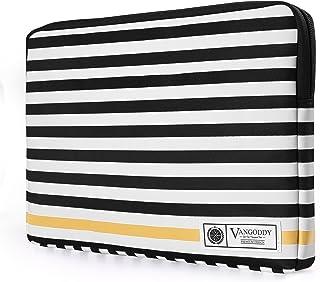 Vangoddy Luxe 13.3 inch Laptop Tablet Sleeve Vegan Leather B W Stripe Pattern De