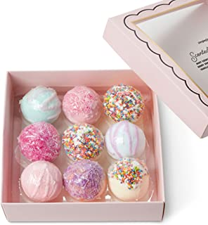 Mini Bath Bombs Gift Set: Tri-Coastal Design Simple Pleasures Fizzy Bath Bombs for Kids and Women - Girls Luxury Spa Quality Scented Bath Bomb Fizzies - Ultra Lush Moisturizing Bath Balls - 9 Pack