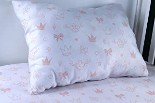 Modern Princess Design 100% Jersey Cotton Pink Fitted Crib Sheet Set with Toddler Pillowcase for Girls - Soft, Breathable - Fits Standard Crib and Toddler Mattress (Sweet Amber)