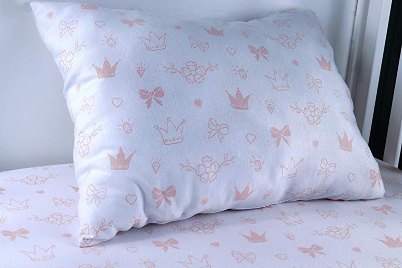 Modern Princess Design 100 Jersey Cotton Pink Fitted Crib Sheet Set With Toddler Pillowcase For Girls Soft Breathable Fits Standard Crib And Toddler Mattress Sweet Amber