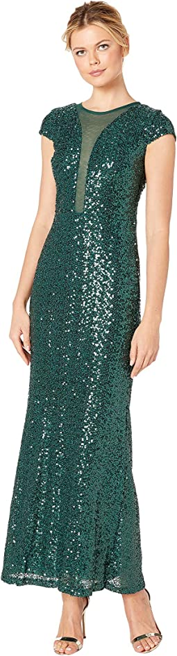 Sequin Cap Sleeve Gown w/ Illusion Plunge Front & V-Back
