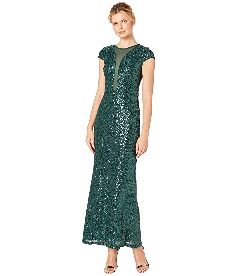 MARINA Sequin Cap Sleeve Gown W/ Illusion Plunge Front & V-Back, Emerald