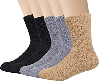 5 Pairs Mens Fluffy Socks Warm Winter Thermal Slipper Socks Pure Color Presents for Men Women (Size UK 6-11)
