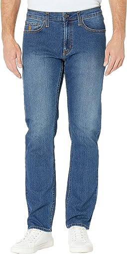 Stretch Slim Straight Five-Pocket Denim Jeans in Blue Medium Enzyme