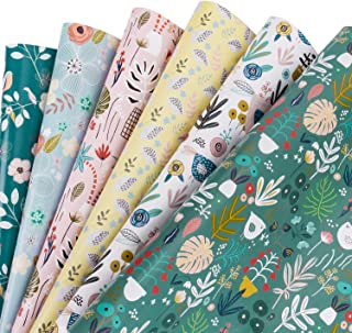 WRAPAHOLIC Gift Wrapping Paper Sheet - Floral Design for Wedding, Birthday, Holiday, Mother's Day, Baby Shower - 1 Roll Contains 6 Sheets - 17.5 inch X 30 inch Per Sheet
