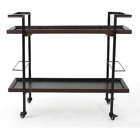Christopher Knight Home Gerard Industrial Wooden Bar Cart, Dark Walnut Finish / Black