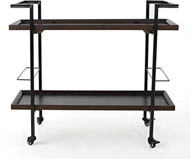 Christopher Knight Home Gerard Industrial Wooden Bar Cart, Dark Walnut Finish / Black