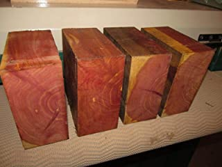 "Eastern Red Cedar Lathe Turning Exotic Wood Bowl Blanks Blocks, 6"" X 6"" X 3"", Set of 4"
