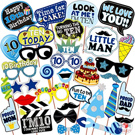 WOBBOX Tenth Birthday Photo Booth Party Props Blue for Baby Boy , 10th Birthday Decorations for Boys , Kids Birthday Party Decoration Items