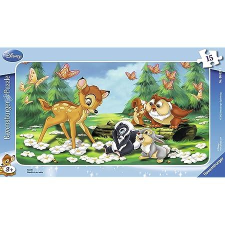 Ravensburger - 06039 - Puzzle Enfant avec Cadre - Bambi et Ses Amis - 15 Pièces
