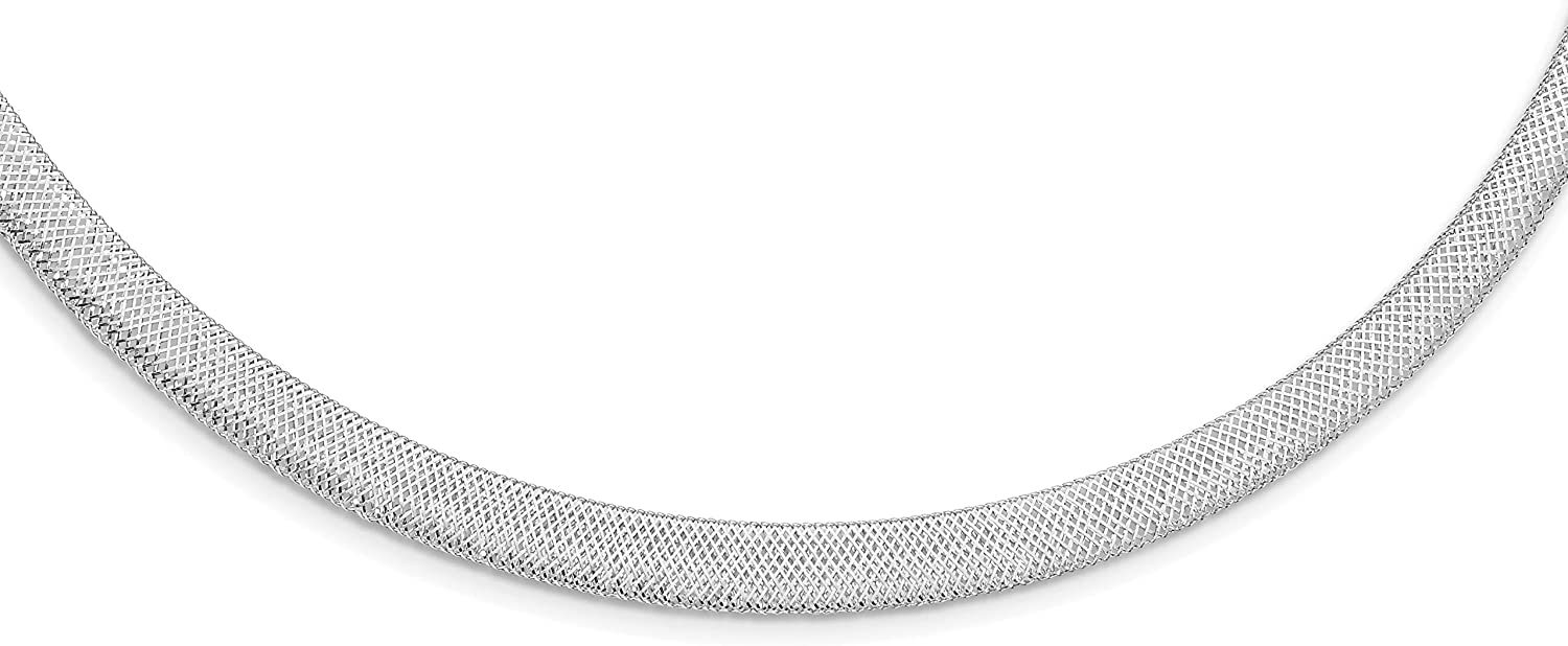 14K White Gold Stretch Mesh w 1.5in Dealing full price 5% OFF reduction Necklace 17 ext. inch -