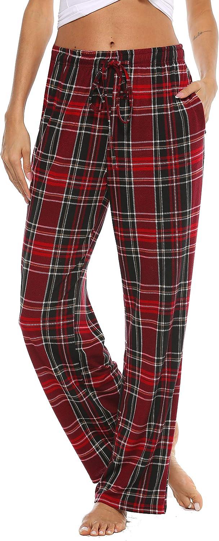 Vlazom Women Pajama Pants Plaid Lounge PJ's Pant Knit Sleep Bottoms Drawstring Plaid Jogger Pant with Pockets