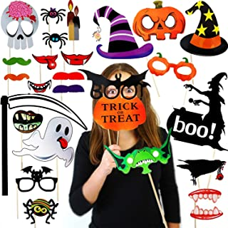 DIY Halloween Photo Booth Props Kit 27pcs Halloween Haunted House Decorations Horror Family Party Selfie Props for Halloween Party Decoration Supplies Mix of Hats Lips Mustaches and More