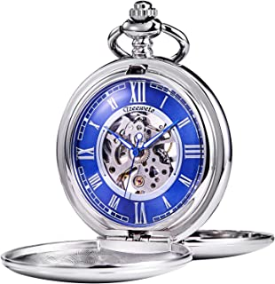 TREEWETO Pocket Watch - Smooth Double Case Series Skeleton Dial Delicate Mechanical Movement with Chain, Silver